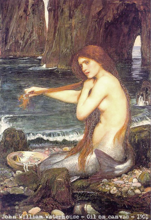 A mermaid combing that infamous, long hair